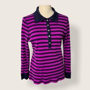 Chaps Stripe Collared Top